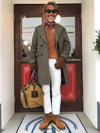 How to wear: olive overcoat, tobacco suede shirt jacket, white chinos, brown suede casual boots