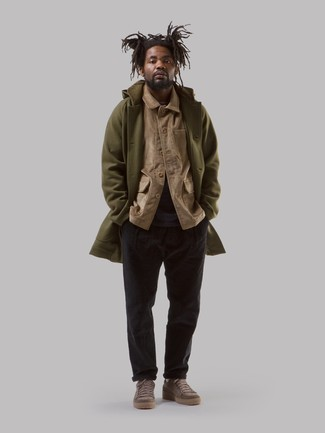 Black Corduroy Chinos Outfits: An olive overcoat and black corduroy chinos are the kind of casually classic pieces that you can wear for years to come. Spice up your look with a more relaxed kind of footwear, such as this pair of brown suede low top sneakers.
