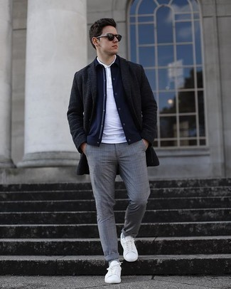 Grey Plaid Pants with Jacket Smart Casual Cold Weather Outfits For Men: Try teaming a jacket with grey plaid pants to prove you've got serious sartorial prowess. If you need to immediately step up your ensemble with footwear, why not complete this look with white canvas low top sneakers?