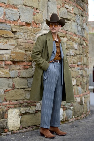 How to wear: olive overcoat, tobacco suede shirt jacket, grey vertical striped suit, white crew-neck t-shirt