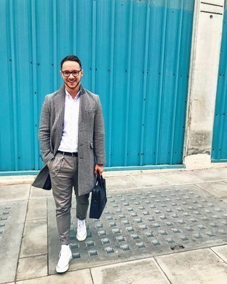 Socks Outfits For Men: A grey houndstooth overcoat and socks are the kind of a tested off-duty getup that you need when you have no time to dress up. White canvas high top sneakers will be the ideal accompaniment to your getup.