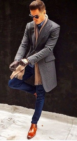 How to wear: charcoal overcoat, navy skinny jeans, navy check dress pants, tobacco leather chelsea boots