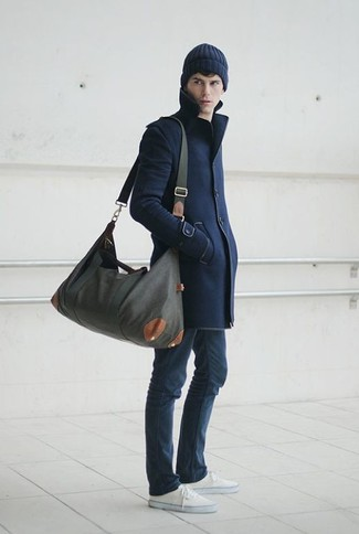 Men's Navy Overcoat, Navy Skinny Jeans, White Low Top Sneakers, Charcoal Canvas Holdall