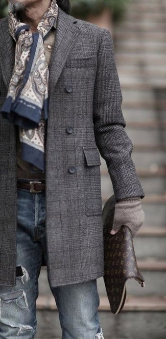 How to wear: charcoal plaid overcoat, blue ripped skinny jeans, dark brown print leather zip pouch, beige paisley scarf