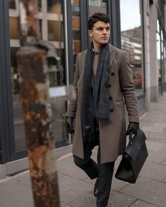 Brown Crew-neck Sweater Outfits For Men: When the dress code calls for a classy yet killer outfit, you can dress in a brown crew-neck sweater and a brown overcoat. A trendy pair of dark brown leather loafers is a simple way to transform this look.