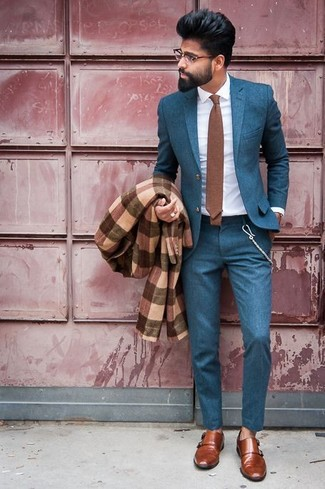 How to wear: brown plaid overcoat, teal suit, white dress shirt, brown leather double monks