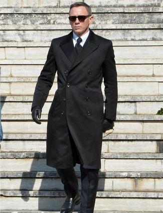 How to wear: black overcoat, black suit, white dress shirt, black leather monks