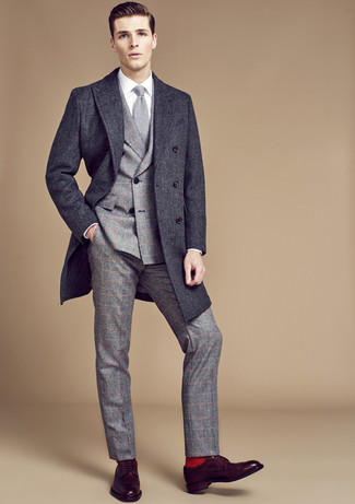 Look the best you possibly can in a charcoal overcoat and a Thom Browne men's Classic Weave Wool Blend Skinny Tie. Want to go easy on the shoe front? Throw in a pair of dark brown leather derby shoes for the day. On not so cold days, you can wear a variation of this easy-to-transition outfit and look absolutely awesome.