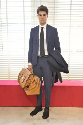How to wear: charcoal overcoat, charcoal suit, white dress shirt, black suede oxford shoes