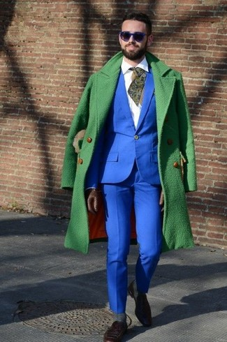 How to wear: green overcoat, blue suit, white dress shirt, dark brown suede loafers