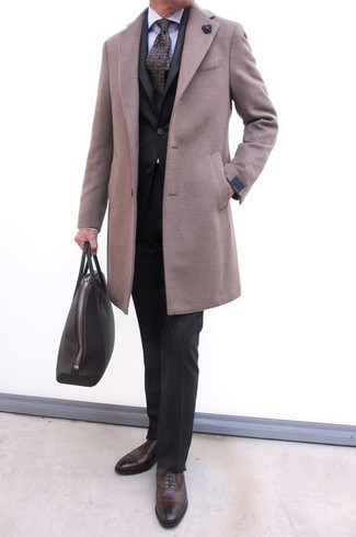 How to wear: beige overcoat, black suit, light violet vertical striped dress shirt, dark brown leather oxford shoes