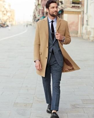Men's Camel Overcoat, Charcoal Suit, Light Blue Dress Shirt, Black Leather Derby Shoes