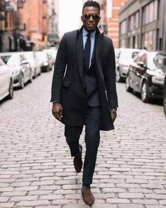 How to wear: black overcoat, black suit, light blue dress shirt, brown suede loafers