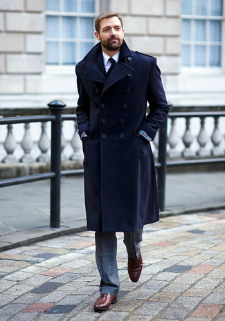 How to wear: navy overcoat, grey check suit, white dress shirt, burgundy leather oxford shoes