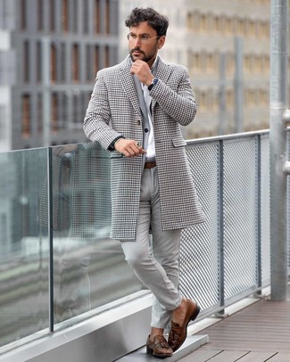 How to wear: white houndstooth overcoat, grey suit, white dress shirt, brown leather tassel loafers