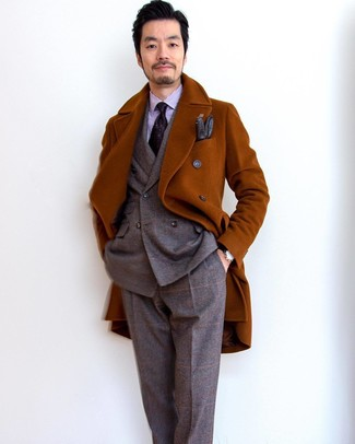 How to wear: tobacco overcoat, brown plaid wool suit, light violet vertical striped dress shirt, dark purple print tie