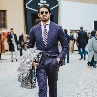 How to wear: white and black houndstooth overcoat, navy suit, white dress shirt, purple polka dot tie