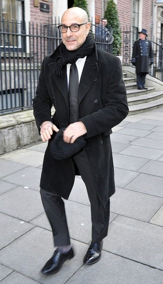 How to wear: black overcoat, black suit, white dress shirt, black leather oxford shoes