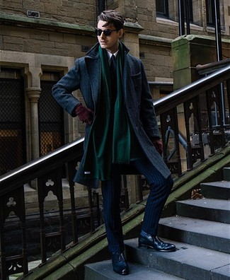How to wear: navy overcoat, navy vertical striped suit, white dress shirt, navy leather brogues