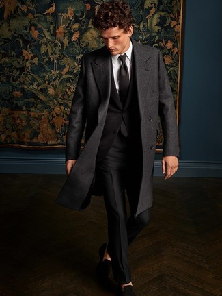 How to wear: charcoal overcoat, black suit, white dress shirt, black suede loafers