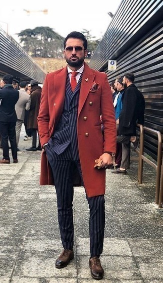 How to Wear a Red Print Pocket Square: Reaching for something as straightforward as this bold casual combo of a red overcoat and a red print pocket square can potentially set you apart from the crowd. If you need to instantly step up this outfit with footwear, add dark brown suede oxford shoes to the mix.