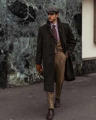 Dark Brown Overcoat Outfits: We're loving how this pairing of a dark brown overcoat and a tan suit instantly makes any gent look smart and classy. You can take a more casual approach with shoes and introduce a pair of dark brown leather loafers to the mix.