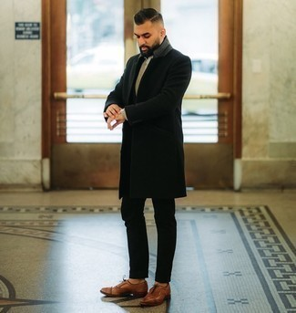 Brown Leather Oxford Shoes with Black Suit Outfits: A black suit looks so elegant when teamed with a black overcoat for a look worthy of a British gentleman. A pair of brown leather oxford shoes looks wonderful finishing this ensemble.