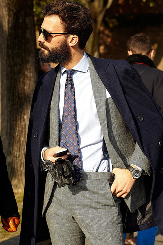 Men's Navy Overcoat, Grey Plaid Suit, White Dress Shirt, Navy Print Tie