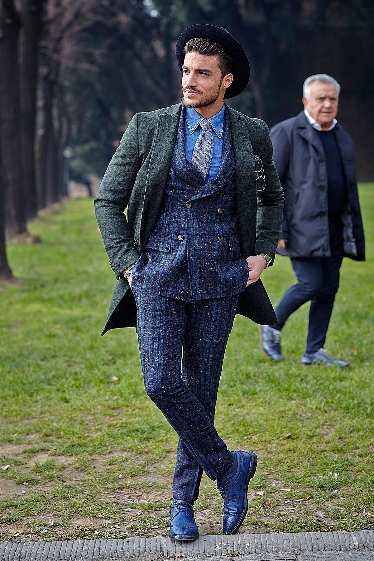 Men's Dark Green Overcoat, Navy Plaid Suit, Blue Chambray Long ...