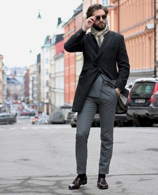 How to Wear a Scarf For Men: A black overcoat and a scarf are a good outfit formula to add to your wardrobe. Give an elegant twist to an otherwise mostly dressed-down look by rocking a pair of dark purple leather tassel loafers.