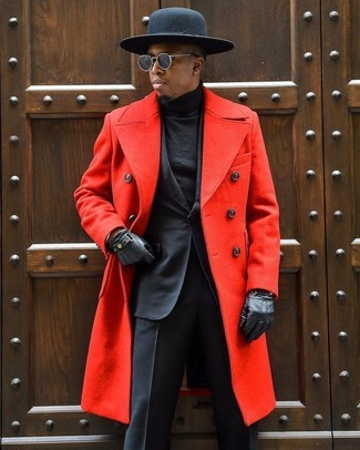 How to wear: red overcoat, black suit, black turtleneck, black wool hat
