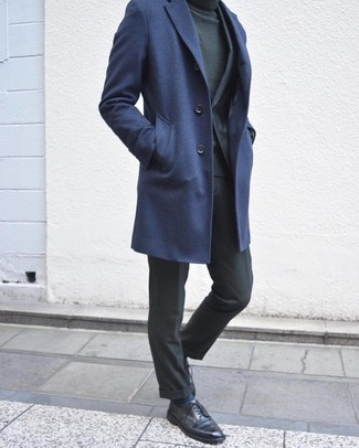How to wear: navy overcoat, charcoal suit, dark green turtleneck, black leather derby shoes