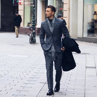 How to wear: black overcoat, charcoal plaid suit, charcoal turtleneck, black leather loafers