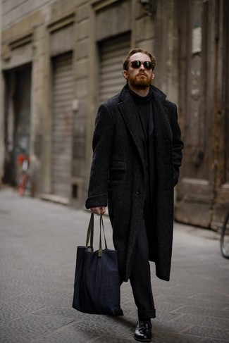 How to wear: black herringbone overcoat, black wool suit, black turtleneck, black leather loafers