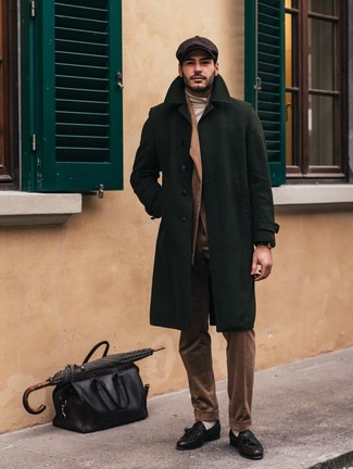 How to wear: dark green overcoat, brown corduroy suit, beige turtleneck, black leather tassel loafers