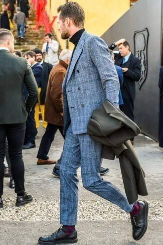 How to Wear Black Leather Derby Shoes: An olive overcoat and a blue plaid wool suit are a really dapper ensemble for any gent to try. A trendy pair of black leather derby shoes is the most effective way to punch up your ensemble.