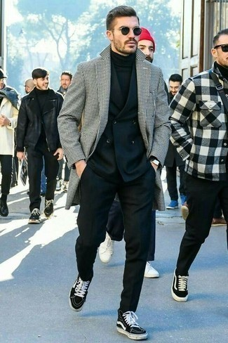 High Top Sneakers with Suit Outfits: Combining a suit with a white and black houndstooth overcoat is an on-point pick for a stylish and classy ensemble. Tone down the classiness of this getup with a pair of high top sneakers.