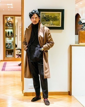 Black Vertical Striped Suit Outfits: For elegant style with a modernized spin, choose a black vertical striped suit and a camel overcoat. Introduce a pair of dark brown suede tassel loafers to your ensemble for extra fashion points.