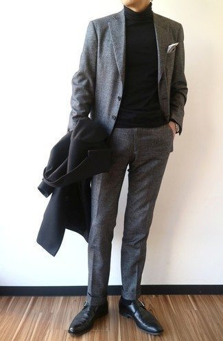 Black Leather Monks Outfits: The closet of any discerning gent should always include such wardrobe heroes as a black overcoat and a grey suit. Let your outfit coordination expertise really shine by finishing off your ensemble with a pair of black leather monks.