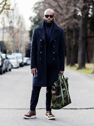 Olive Camouflage Canvas Tote Bag Outfits For Men: Beyond stylish and functional, this combination of a navy overcoat and an olive camouflage canvas tote bag delivers countless styling possibilities. Why not take a smarter approach with footwear and introduce a pair of brown leather brogue boots to the equation?