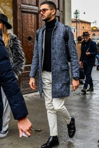 Blue Overcoat Outfits: A blue overcoat looks so classy when paired with a beige suit in a modern man's getup. For a modern hi-low mix, complement this outfit with black leather double monks.
