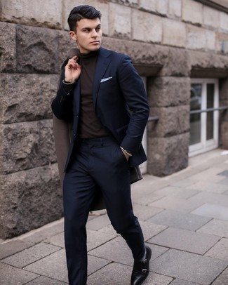 Overcoat Outfits: For a look that's absolutely Kingsman-worthy, marry an overcoat with a navy suit. Let your sartorial credentials really shine by completing your outfit with black leather double monks.