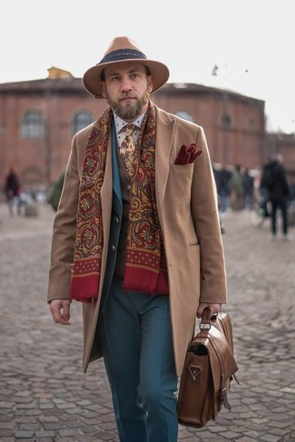 How to wear: camel overcoat, blue suit, brown wool waistcoat, white polka dot dress shirt