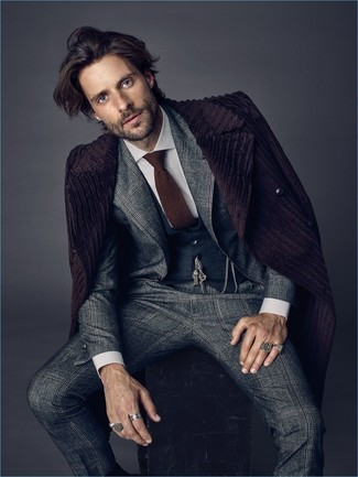 How to wear: dark purple overcoat, grey plaid suit, charcoal waistcoat, white dress shirt