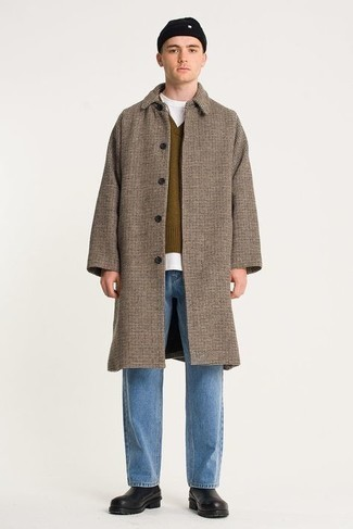 Light Blue Jeans Outfits For Men: This combination of a camel check overcoat and light blue jeans is definitive proof that a pared down ensemble doesn't have to be boring. Why not take a more sophisticated approach with shoes and slip into black leather chelsea boots?