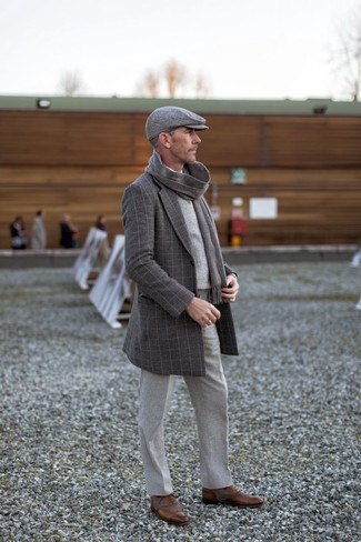 How to wear: charcoal check overcoat, grey plaid sweater vest, white long sleeve shirt, grey wool dress pants