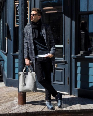 How to wear: charcoal plaid overcoat, black sweatshirt, white and black horizontal striped crew-neck t-shirt, black skinny jeans