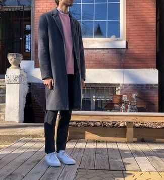 White Leather Low Top Sneakers Outfits For Men: Wear a charcoal overcoat and black chinos for a neat sophisticated menswear style. If you need to immediately play down your outfit with a pair of shoes, why not complement this outfit with a pair of white leather low top sneakers?