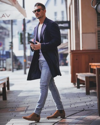 How to wear: navy overcoat, white tank, light blue skinny jeans, tobacco suede chelsea boots