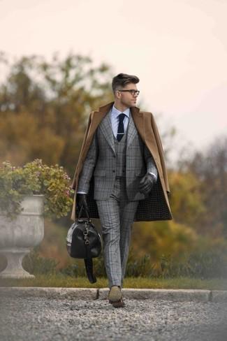 Bracciano Woolsilk 3 Pieces Check Suit